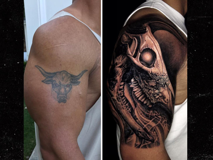 The Rock Covers Up Iconic Bull Tattoo with Bigger Bull Tattoo   TMZ.com